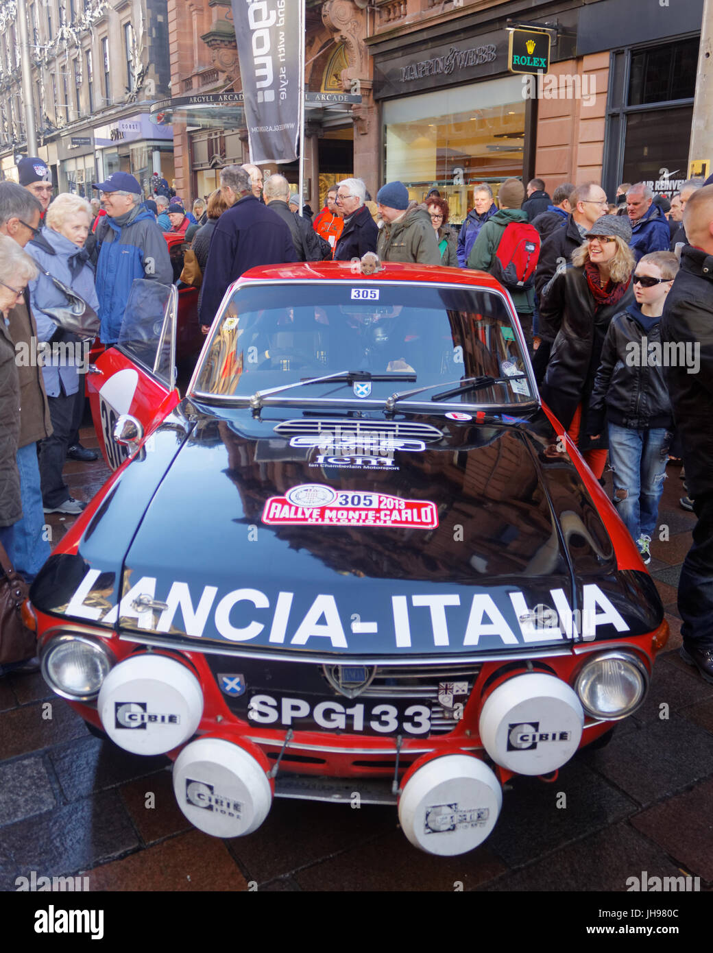 Glasgow Scotland  UK start point for the 2013 Monte Carlo Rally. pre rally show and tell in Buchanan street - Stock Image