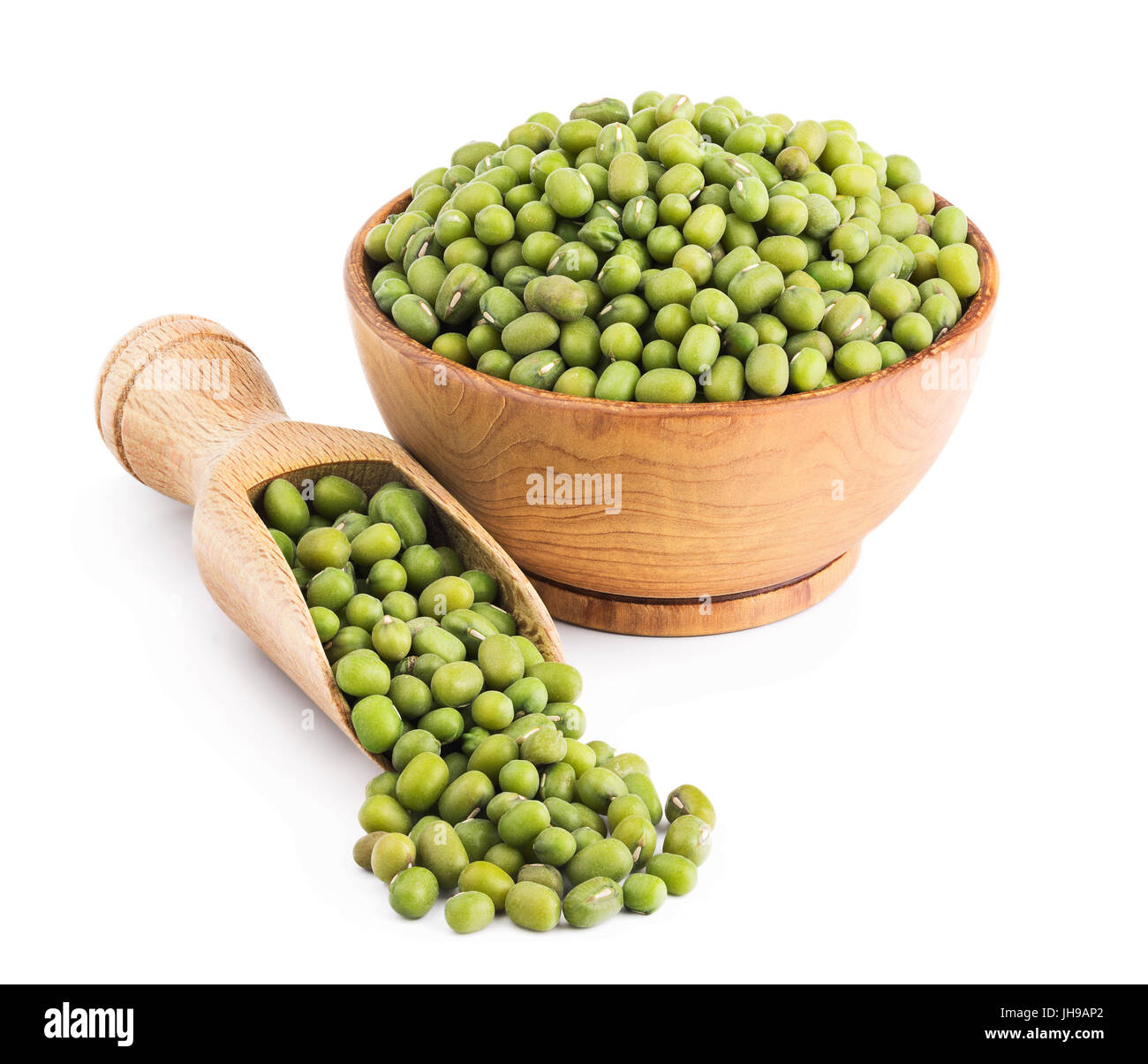Green mung beans isolated on white - Stock Image