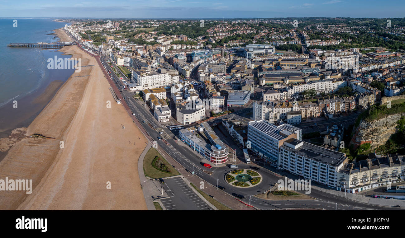 Aerial view of Hastings, East Sussex, UK. Town centre beach and pier. Historic town/port on England's south - Stock Image