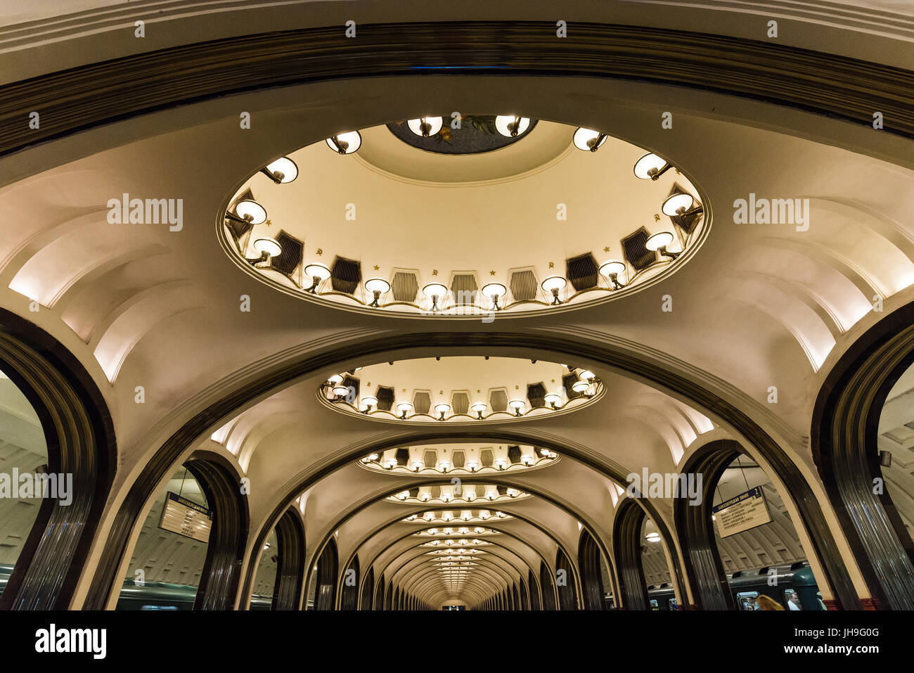 mOSCOW, RUSSIA Circa May 2015: walking through the russian metro stations Stock Photo