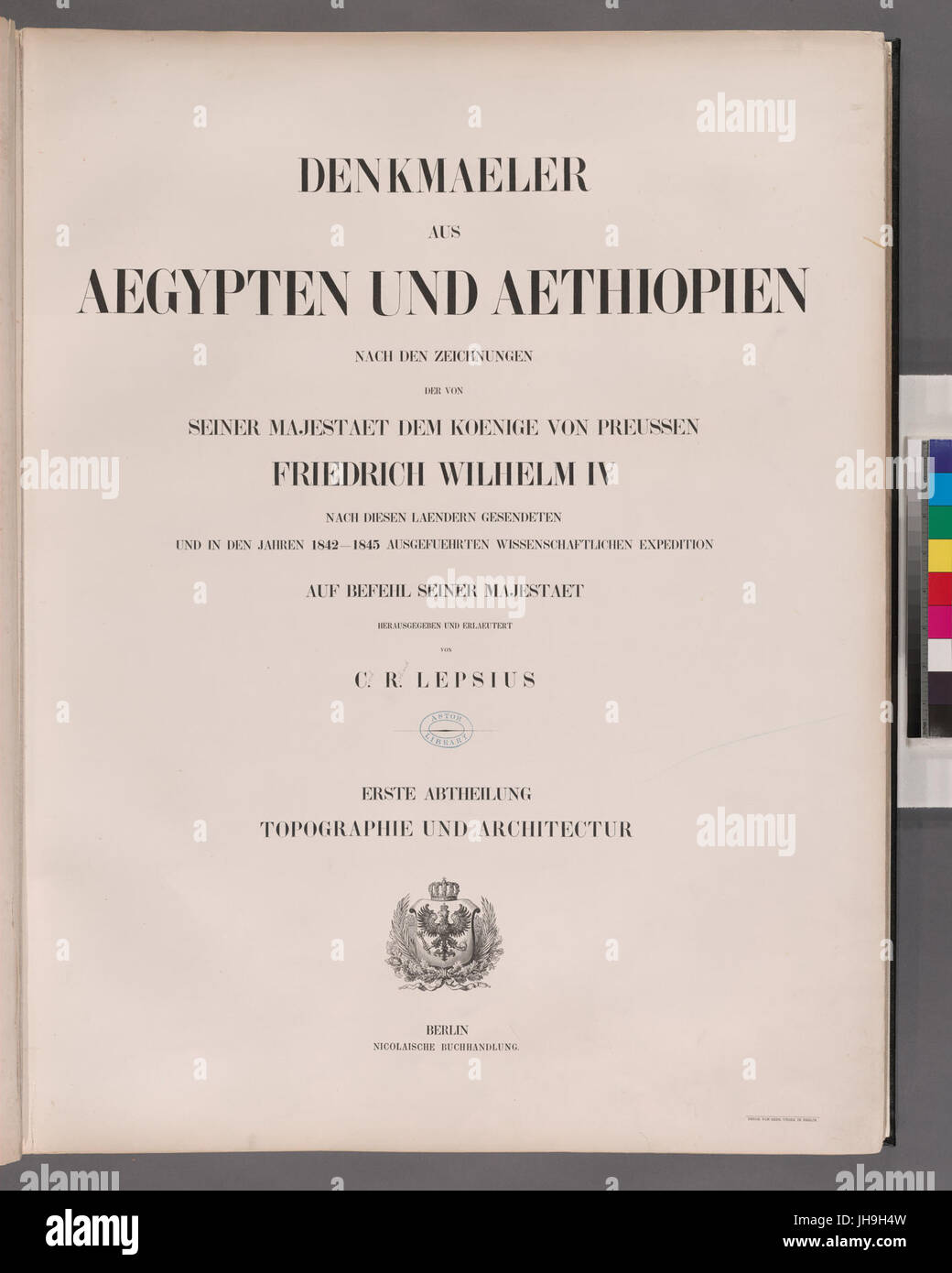 Title page). Denkmaeler aus Aegypten und Aethiopien Erste Abtheilung- Topographie und Architectur (Blatt 1 - 66) - Stock Image