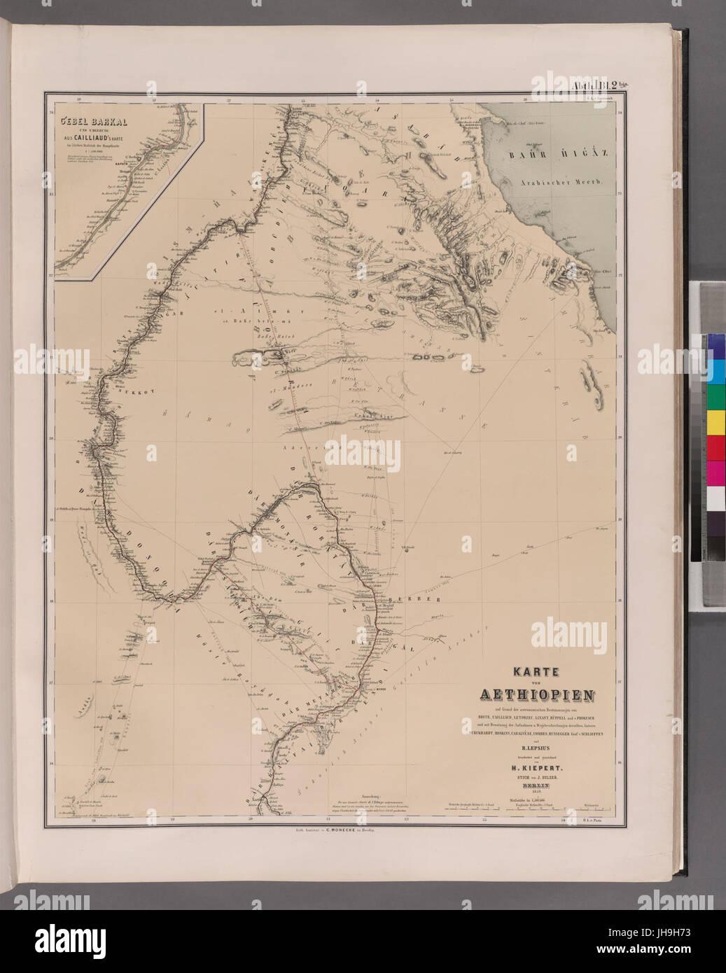 Karte von Aethiopien (NYPL b14291191-37504) - Stock Image