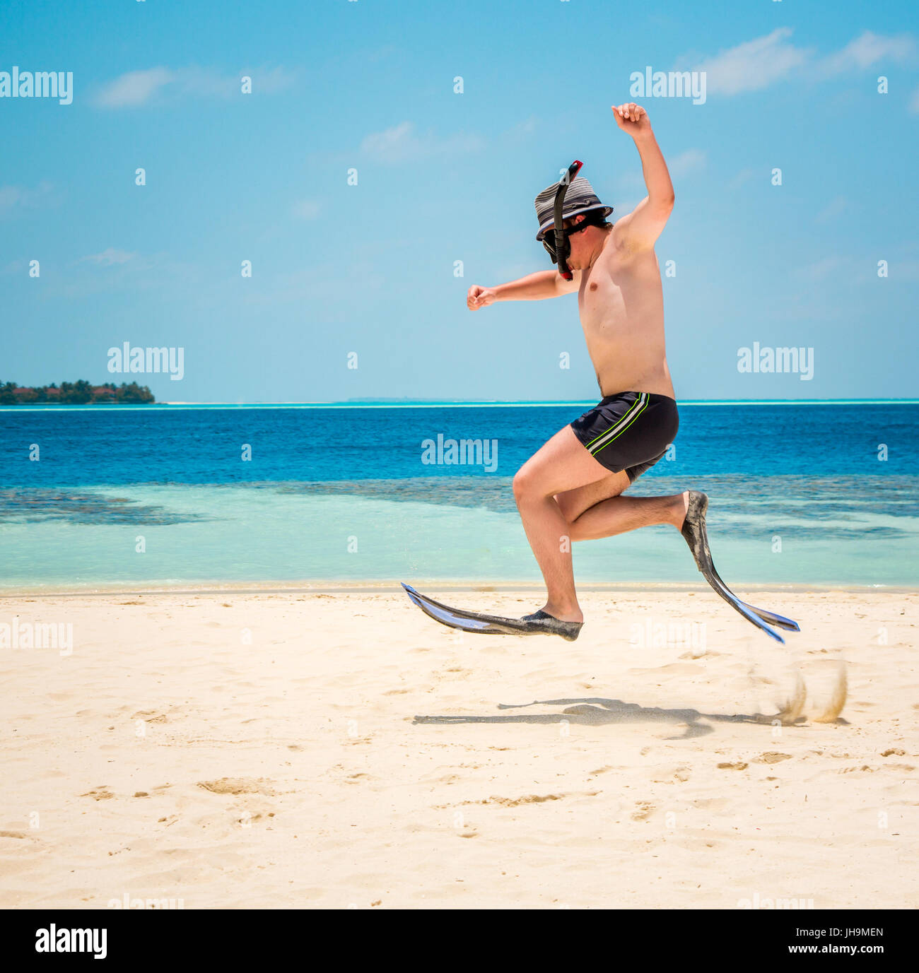 Funny Man Jumping In Flippers And Mask Holiday Vacation On A Stock Photo Alamy