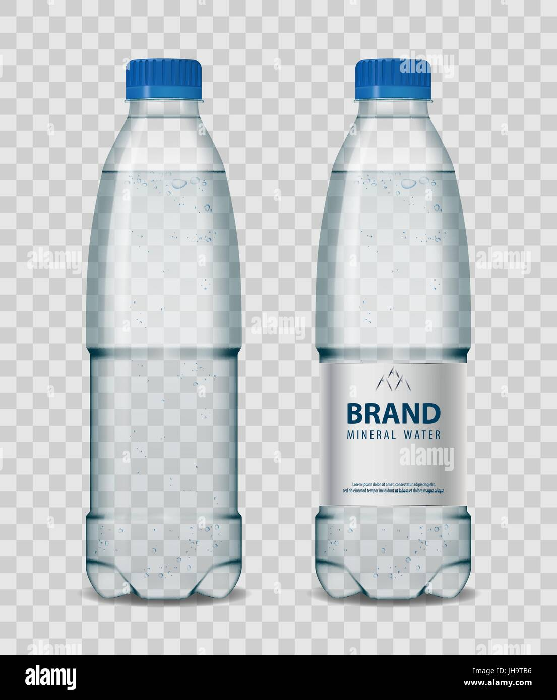 Plastic bottle with mineral water with blue cap on transparent background. Realistic bottle mockup vector illustration. - Stock Vector