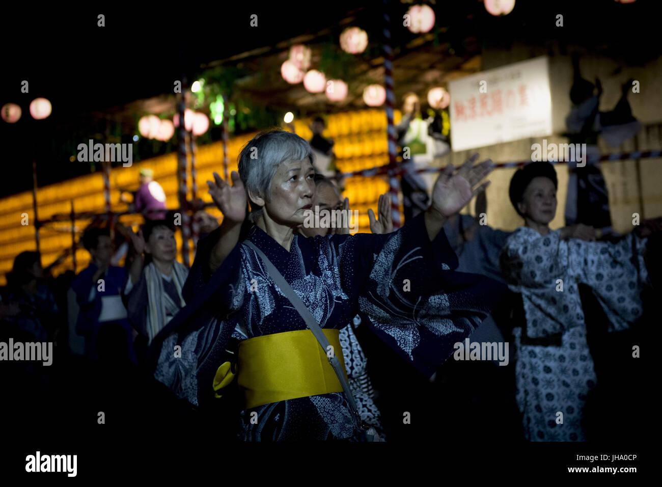 Hiratsuka, Kanagawa, Japan. 13th July, 2017. A woman dance Bon Odori or 'Bon Dance' Originally a Nenbutsu - Stock Image