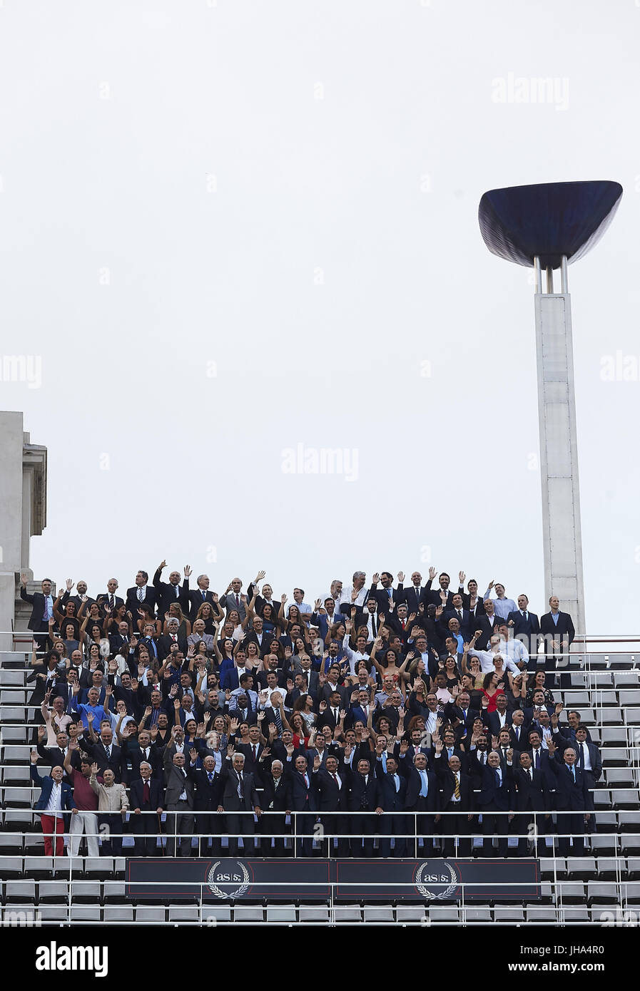 A photo group of medalists of Barcelona 92 arrive at the tribute organized by the sports newspaper AS on the occasion - Stock Image