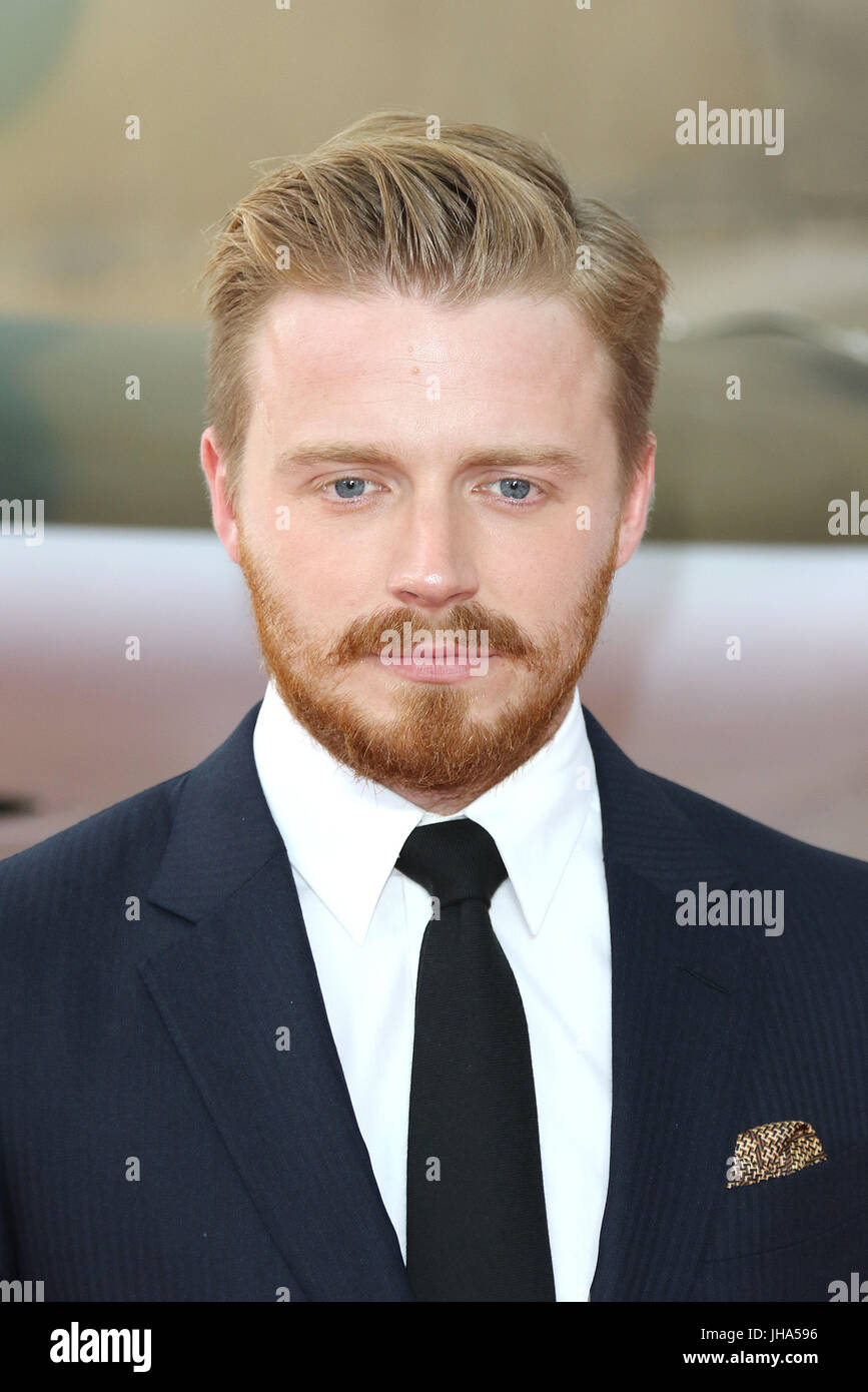 London, UK. 13th July, 2017. Jack Lowden, Dunkirk - World film premiere, Leicester Square Gardens, London UK, 13 - Stock Image