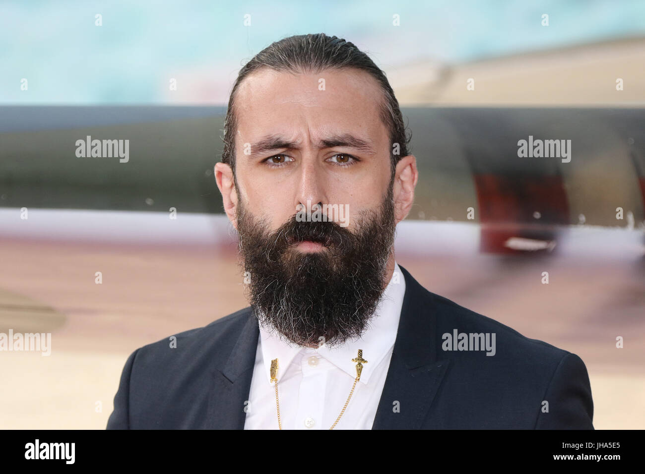 London, UK. 13th July, 2017. Scroobius Pip, Dunkirk - World film premiere, Leicester Square Gardens, London UK, - Stock Image