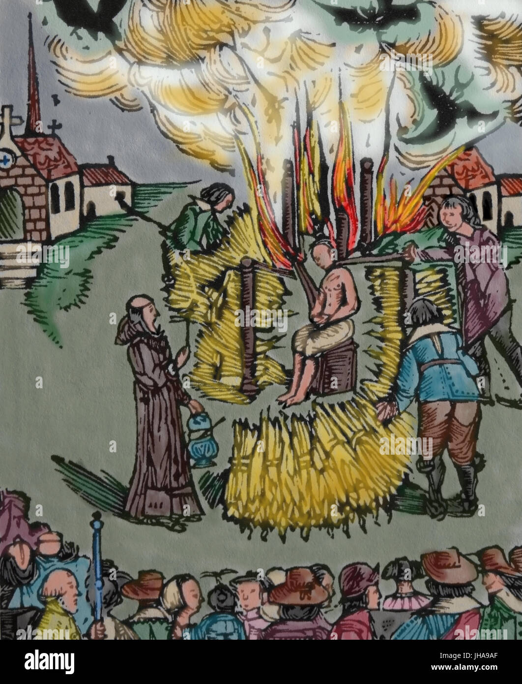 Inquisition. Public burning of French Catholic priest Urbain Grandier for witchcraft. Loudun, 1634. France. Engraving. - Stock Image