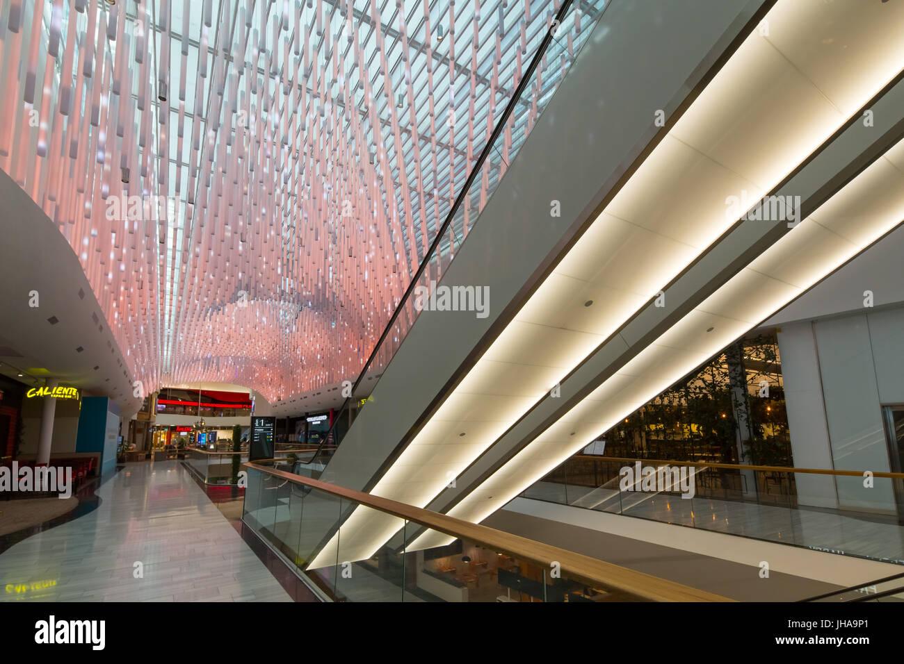 Inside Mall of Scandinavia, Solna, Sweden. - Stock Image