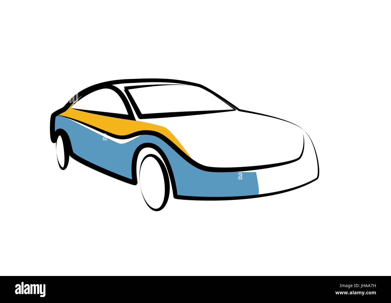 Simple Drawing Of A Modern Sports Car Auto Sketch Stock Vector Art