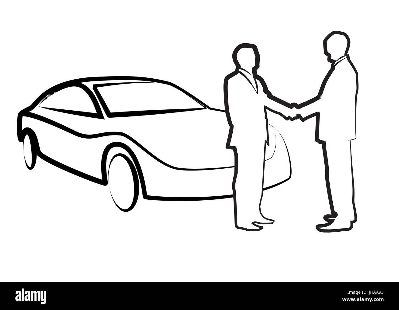 two businessmen shaking hands in front of a car - illustration , vector - Stock Image
