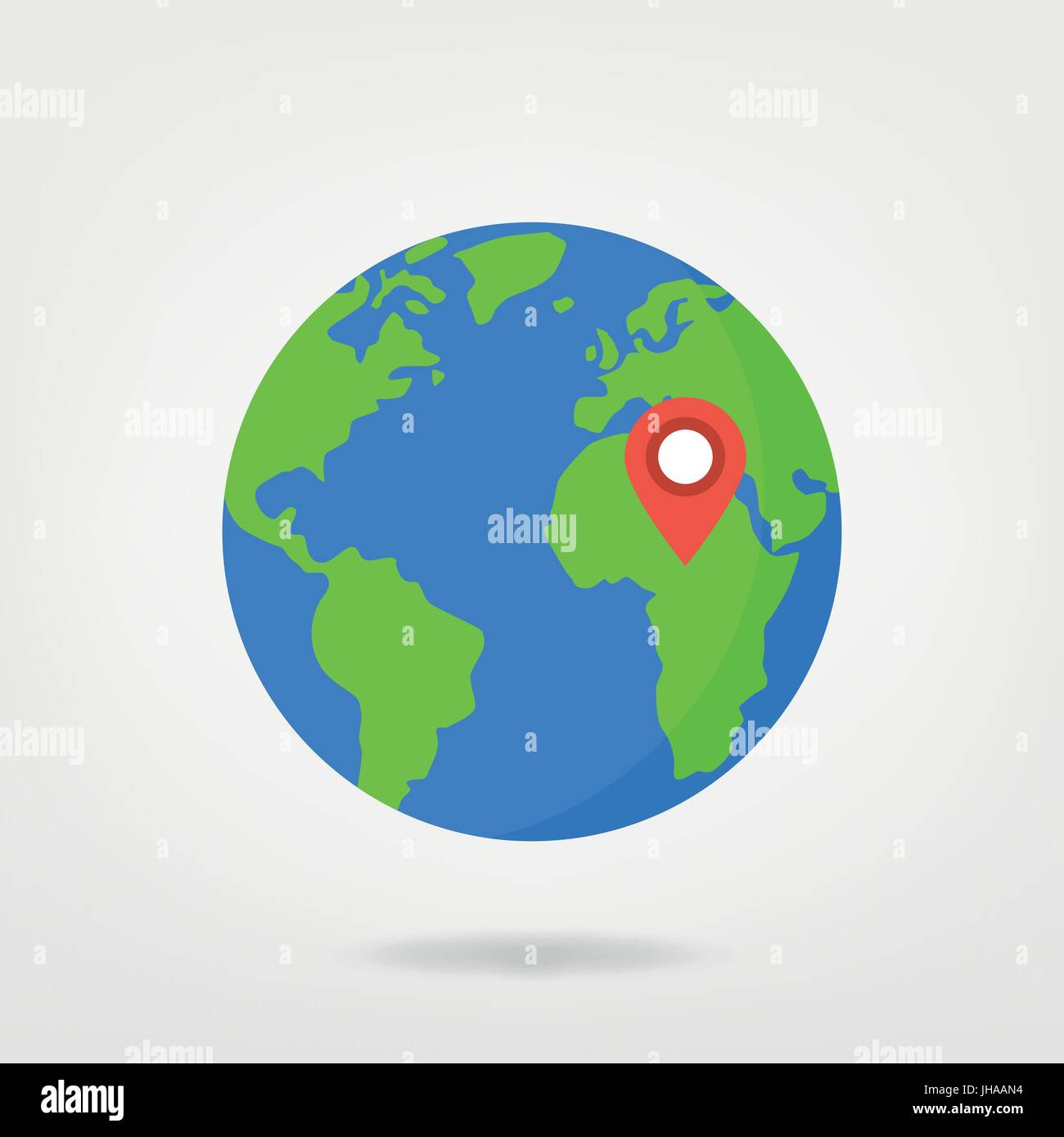 Africa location pin on world illustration world map globe with africa location pin on world illustration world map globe with red location marker gumiabroncs Image collections