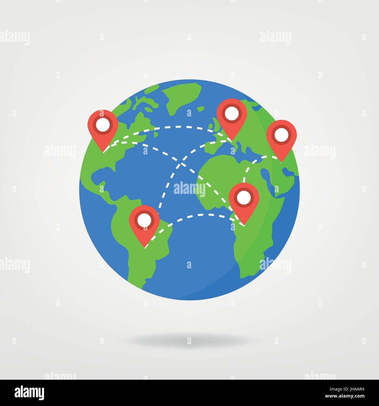 pin points on world map travel concept illustration location marker on globe vector graphic