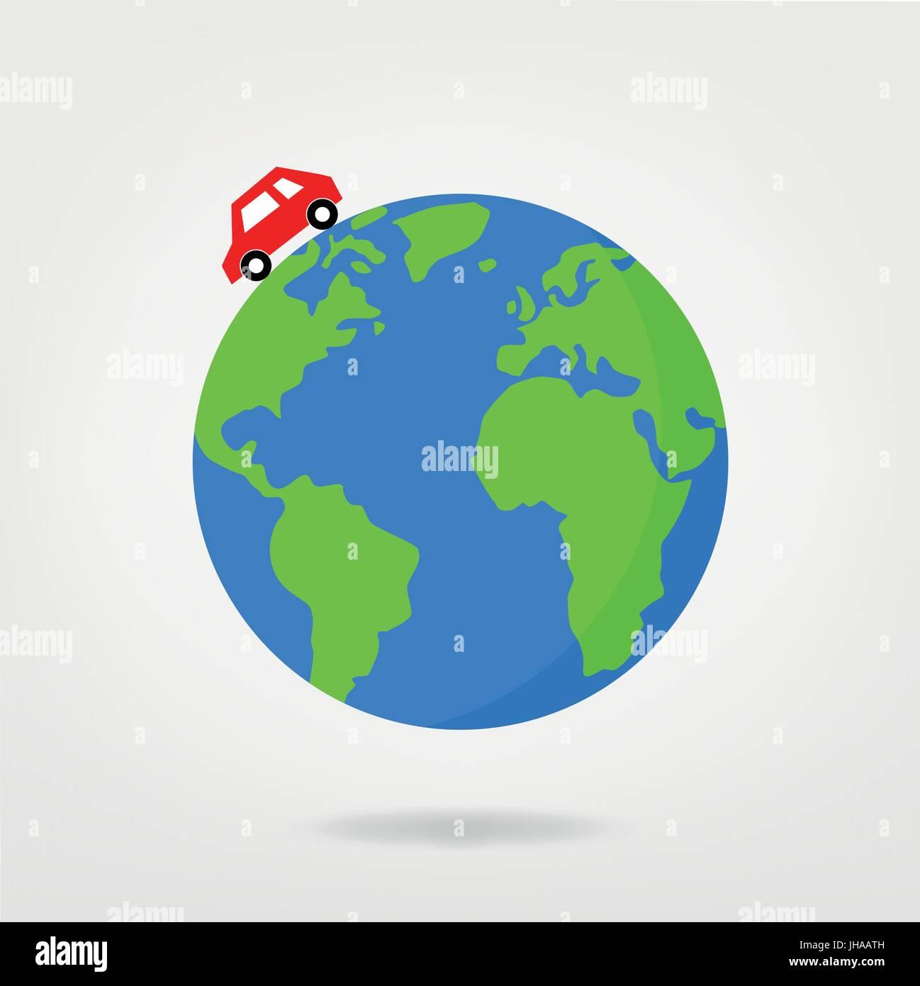 Car Driving On Globe World Map Vector Illustration Stock Vector