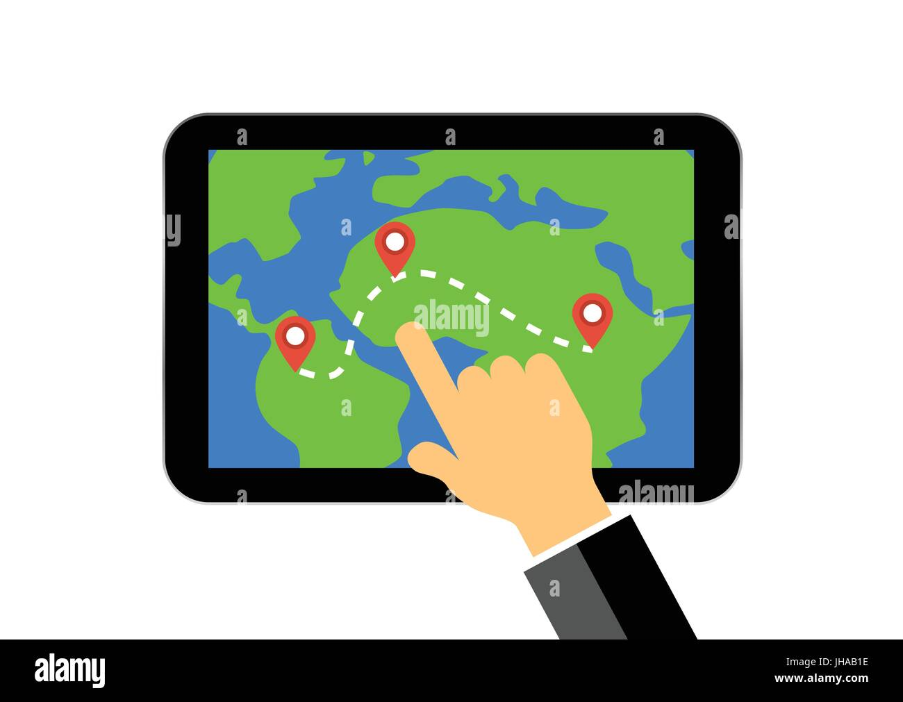 hand on tablet display with map and gps navigation system illustration - Stock Image