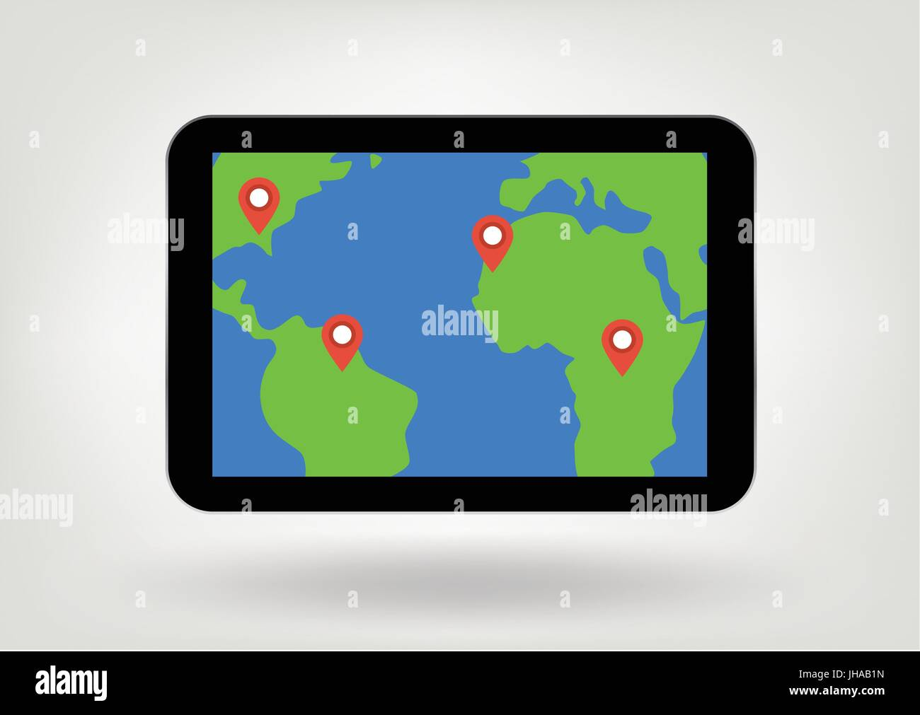 location marks on map on tablet display illustration - Stock Vector