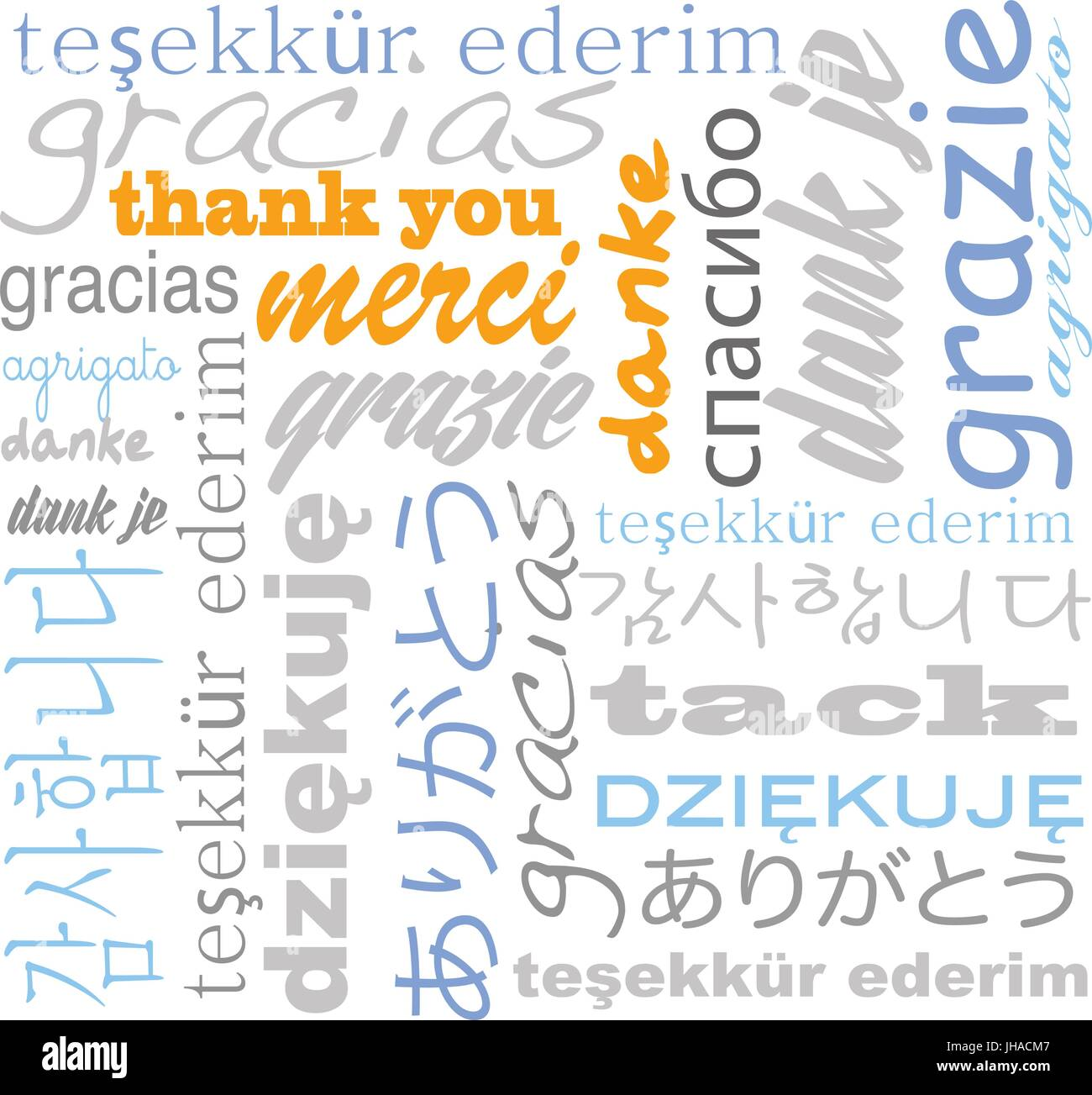 thank you in many languages - tag cloud Stock Vector