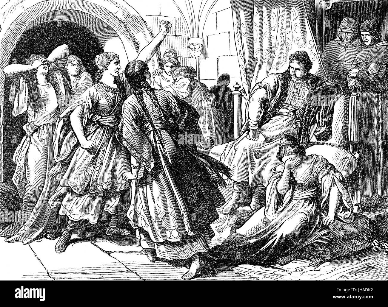 Mieszko I, ca. 930 - 992,  the ruler of the Polans, repudiating his seven pagan wives before becoming a Roman Catholic - Stock Image