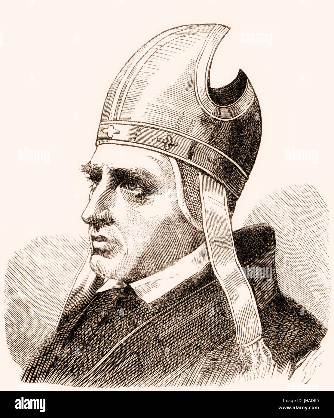 Pope Sylvester II or Silvester II, c. 946 – 1003, was Pope from 2 April 999 to his death in 1003 - Stock Image