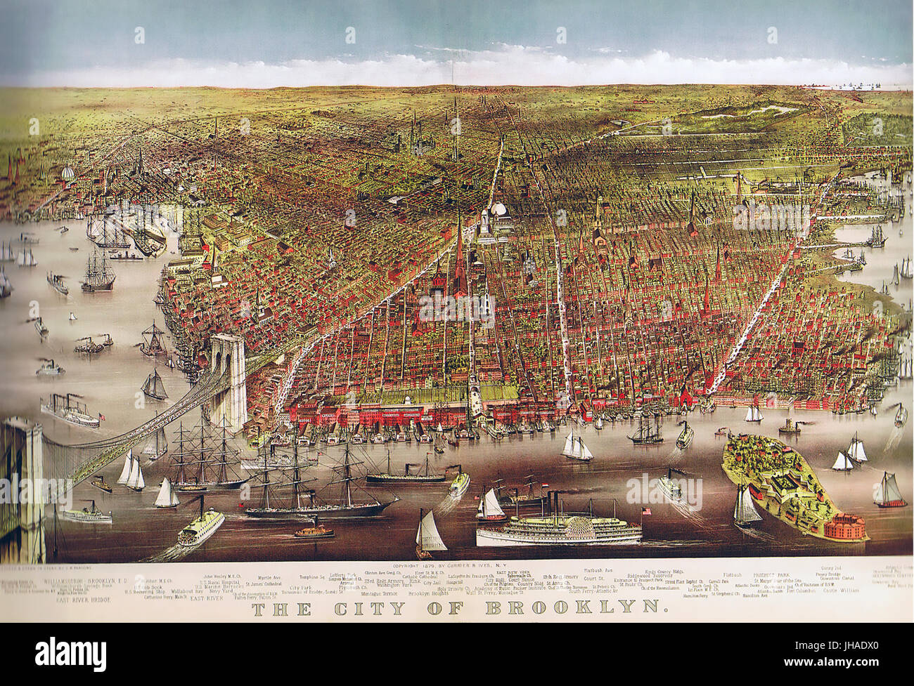 BROOKLYN, NEW YORK  1879 print by Currier & Ives - Stock Image