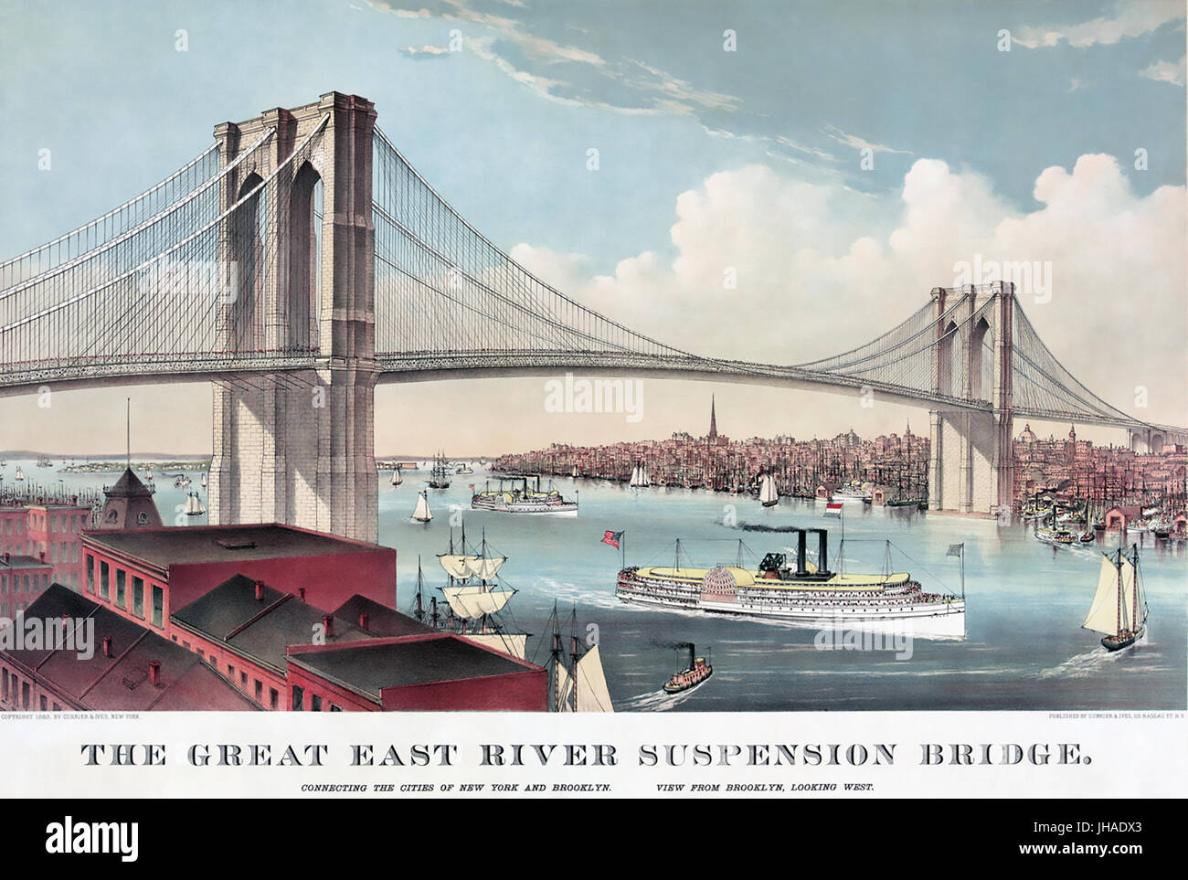 BROOKLYN BRIDGE over the East River in 1883. Print by Currier & Ives - Stock Image