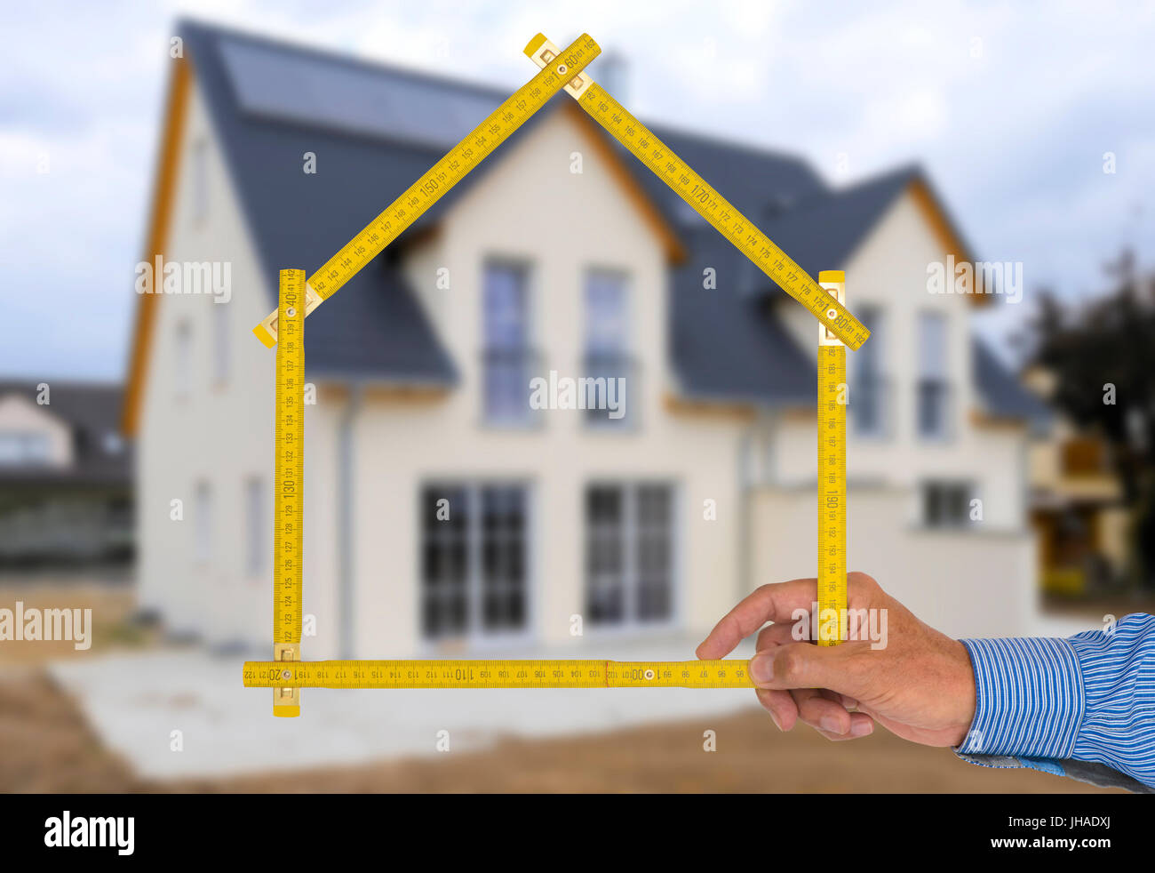 new building with real estate agent - Stock Image