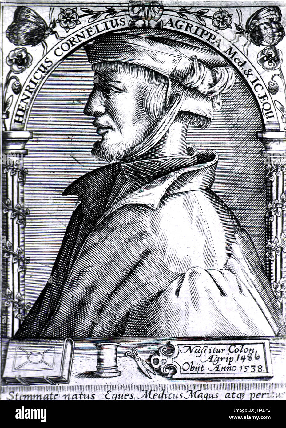 HEINRICH AGRIPPA (1486-1535) German physician, soldier and theologian - Stock Image