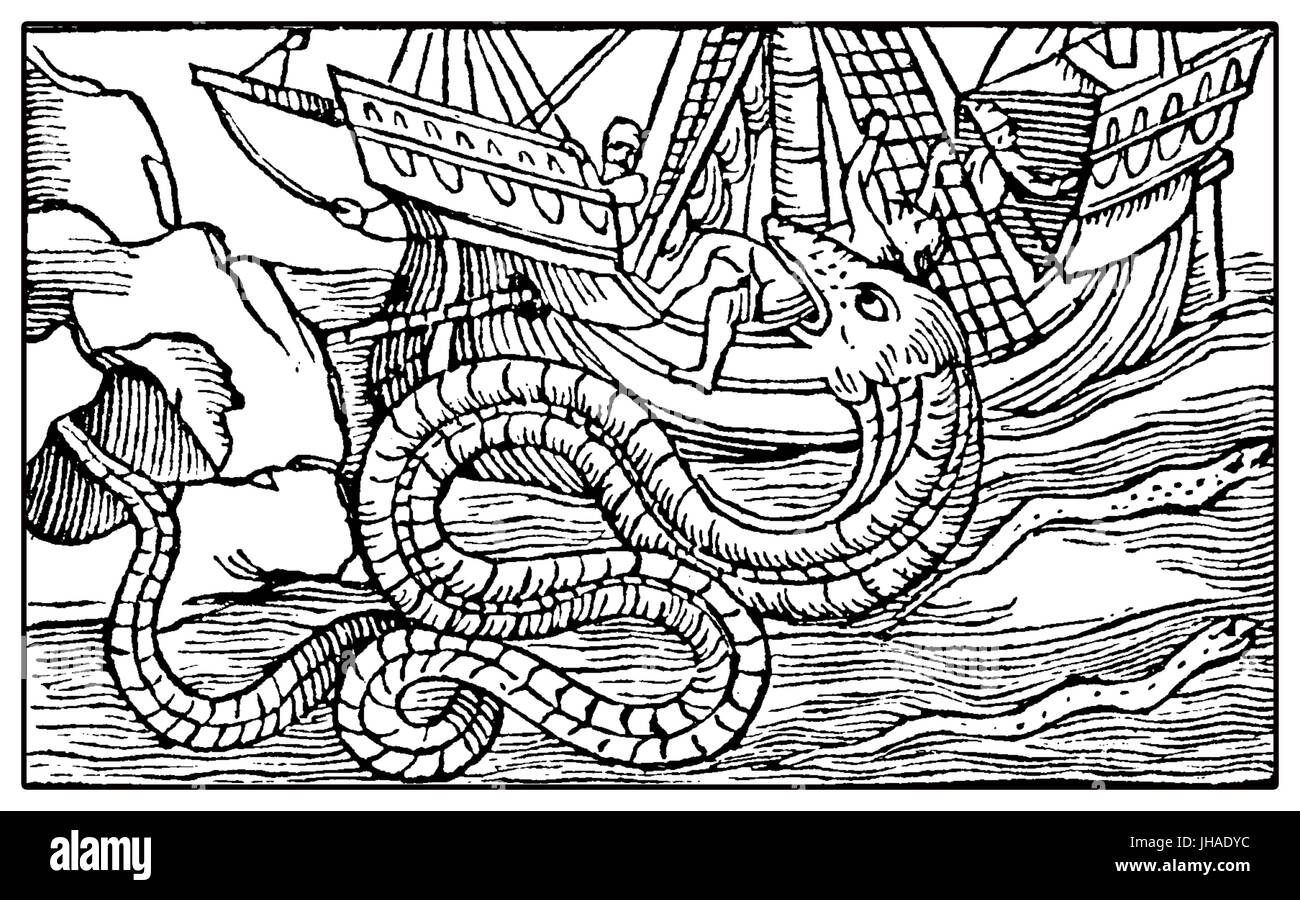 Fantastic marine monster like a sea snake eating sailor from a medieval caravel, XVI century engraving - Stock Image