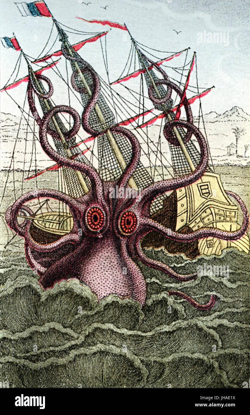 Kraken, giant sea monster attacks caravel, medieval print - Stock Image