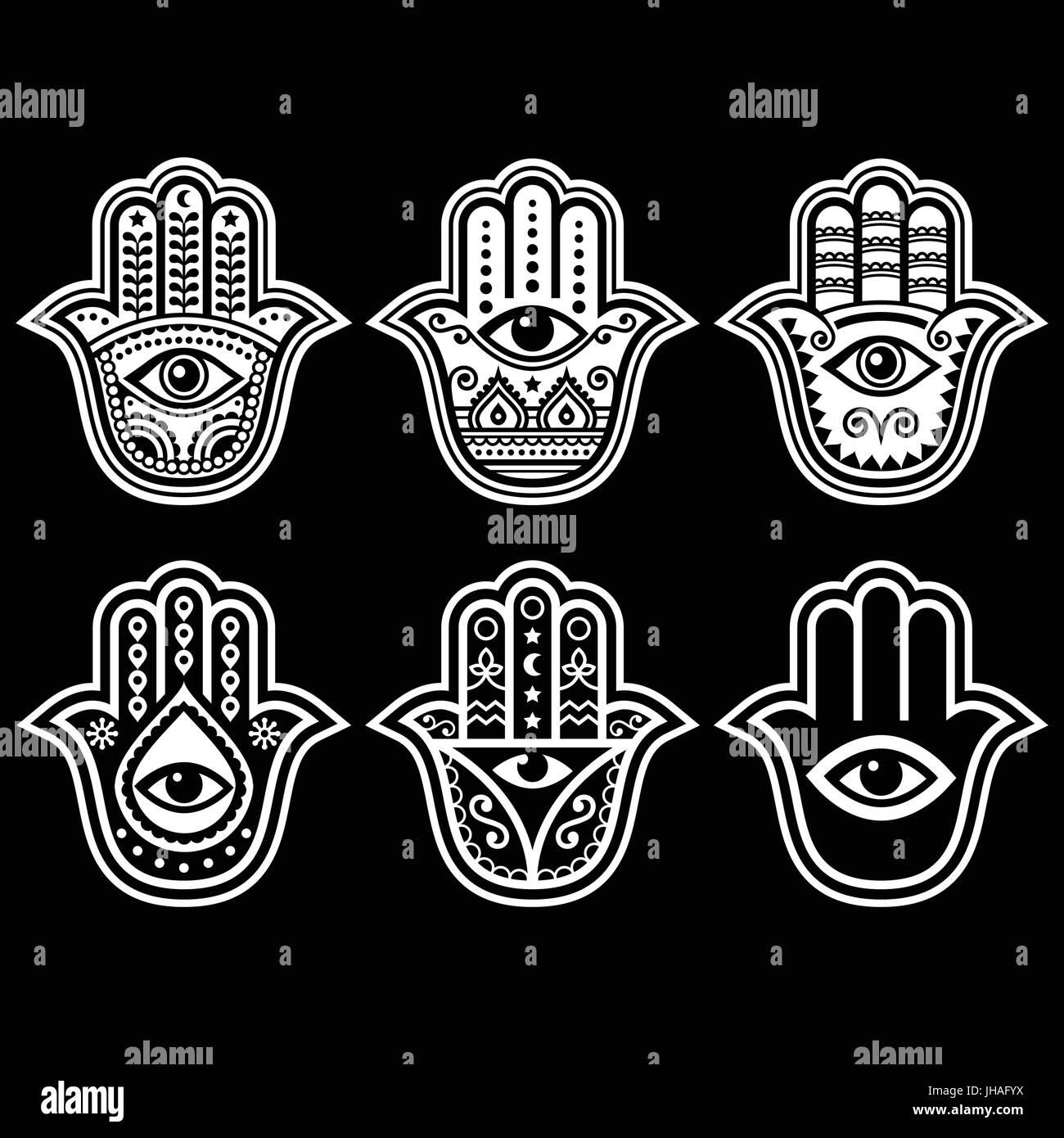 Hamsa hand, Hand of Fatima - amulet, symbol of protection from devil eye on black   Hamsa, Hand of Fatima - symbol - Stock Vector