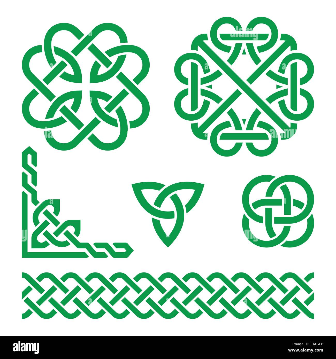 Celtic Irish Knots Braids And Patterns Vector Set Of Stock Vector