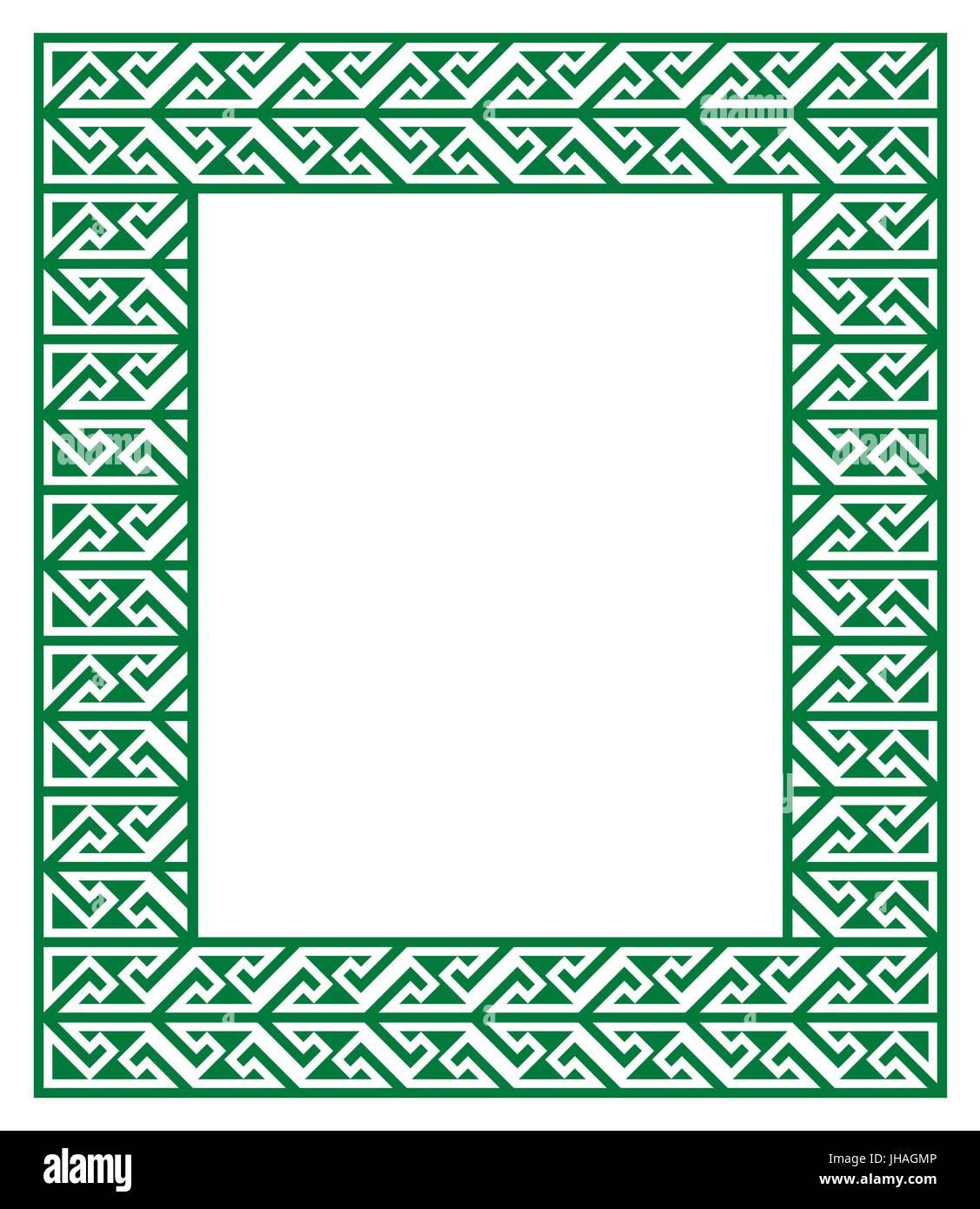 Celtic Key Pattern - frame, border Irish, Celtic green frame Stock ...