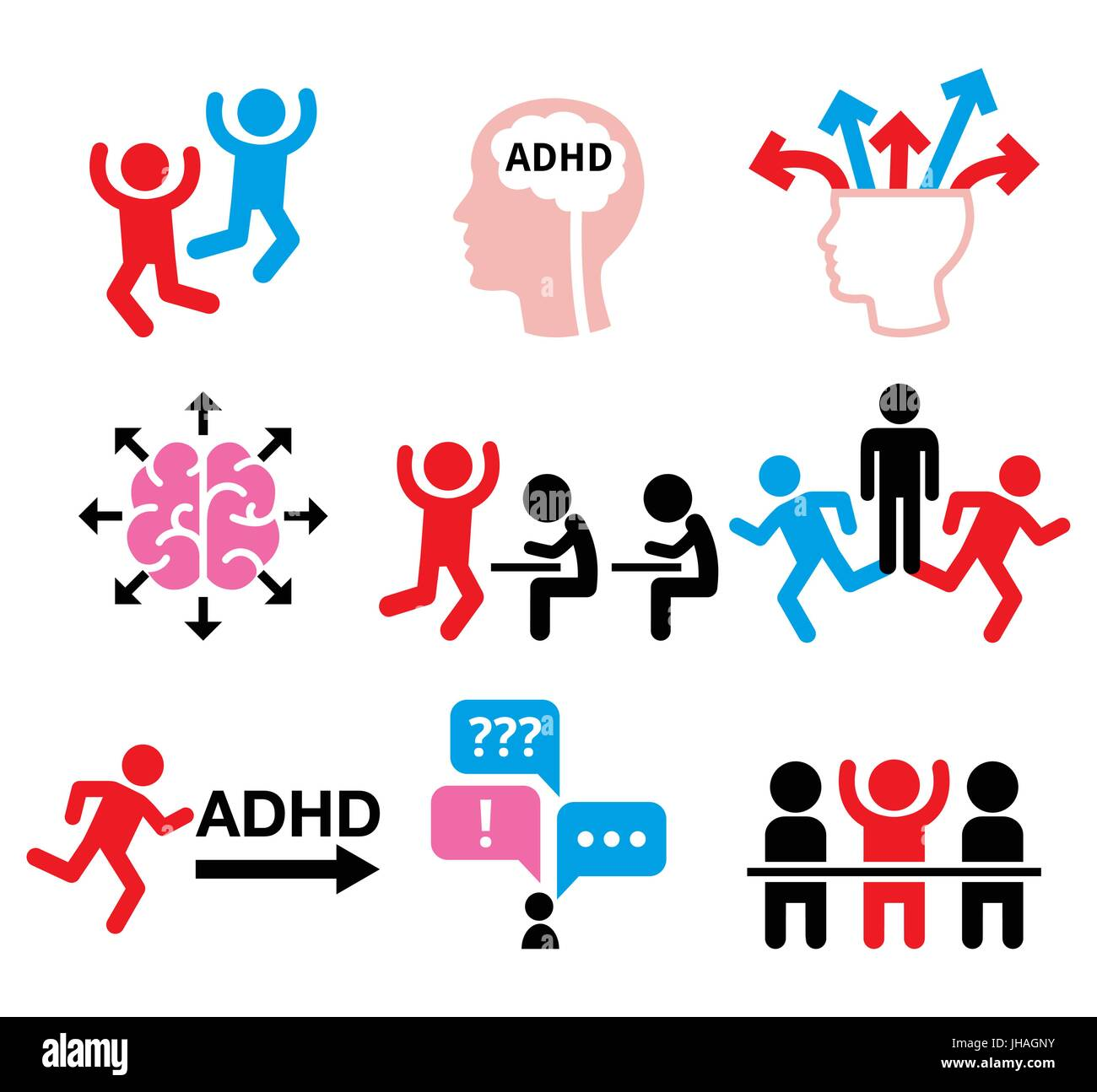 ADHD - Attention deficit hyperactivity disorder vector icons set    Health icons set - people wish ADD or ADHD icons - Stock Vector