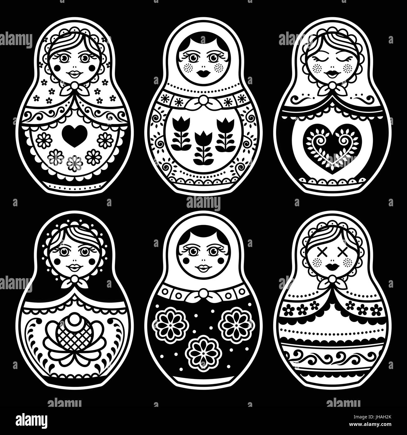 Matryoshka, Russian doll white icons set on black - Stock Vector