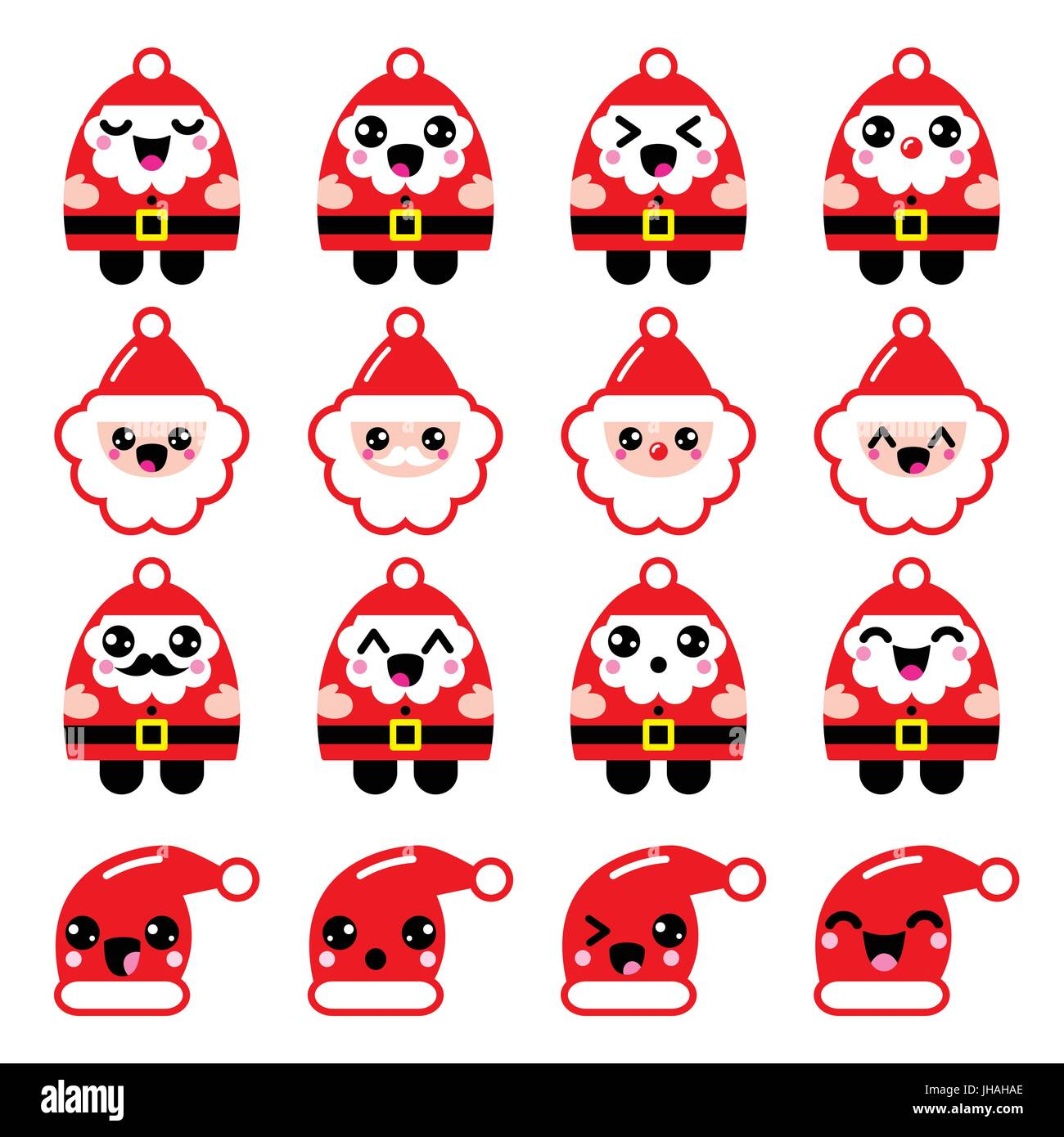 ccea86795087c Kawaii Santa Claus cute character icons - head