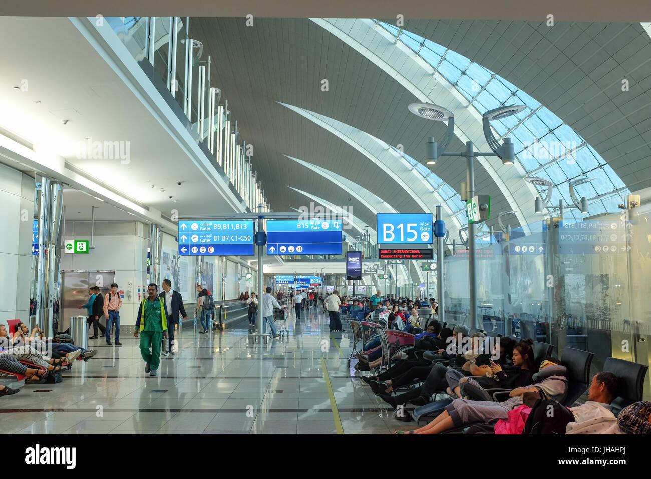 Dubai airport departure lounges. - Stock Image