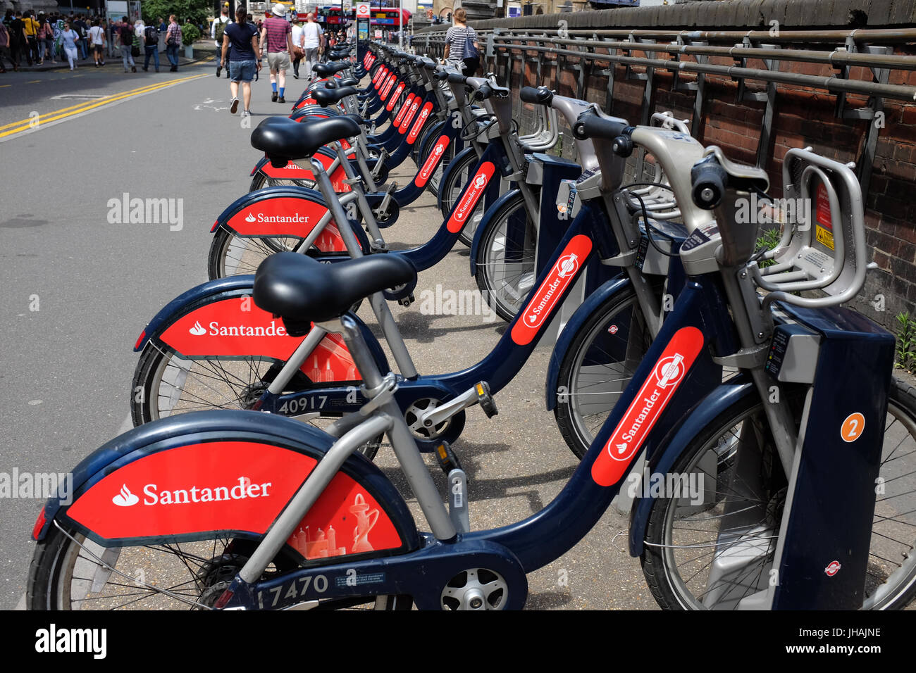Santander Cycles outside Waterloo Station in London, England. - Stock Image