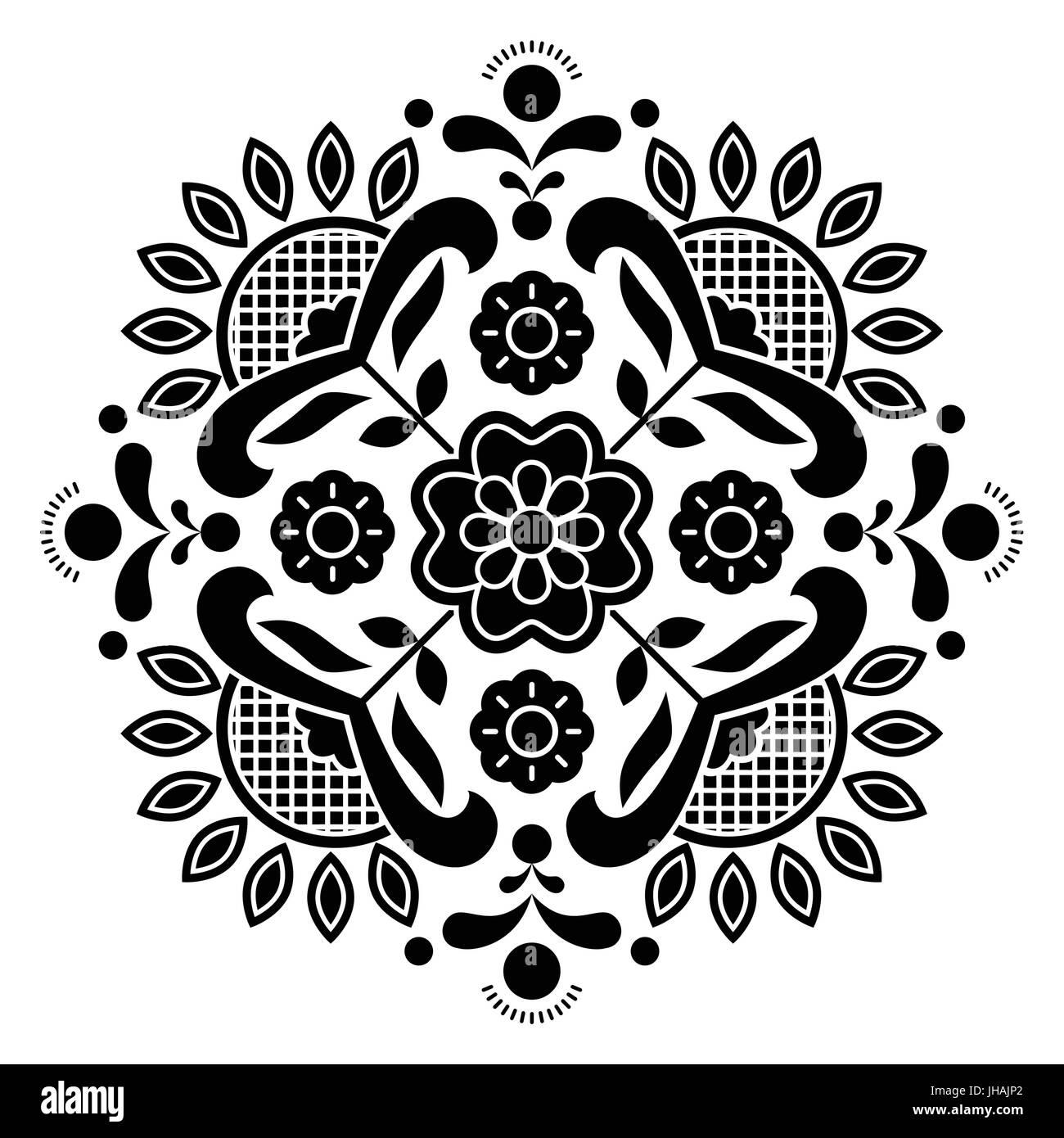 Norwegian black folk art Bunad pattern - Rosemaling style embroidery Stock Vector