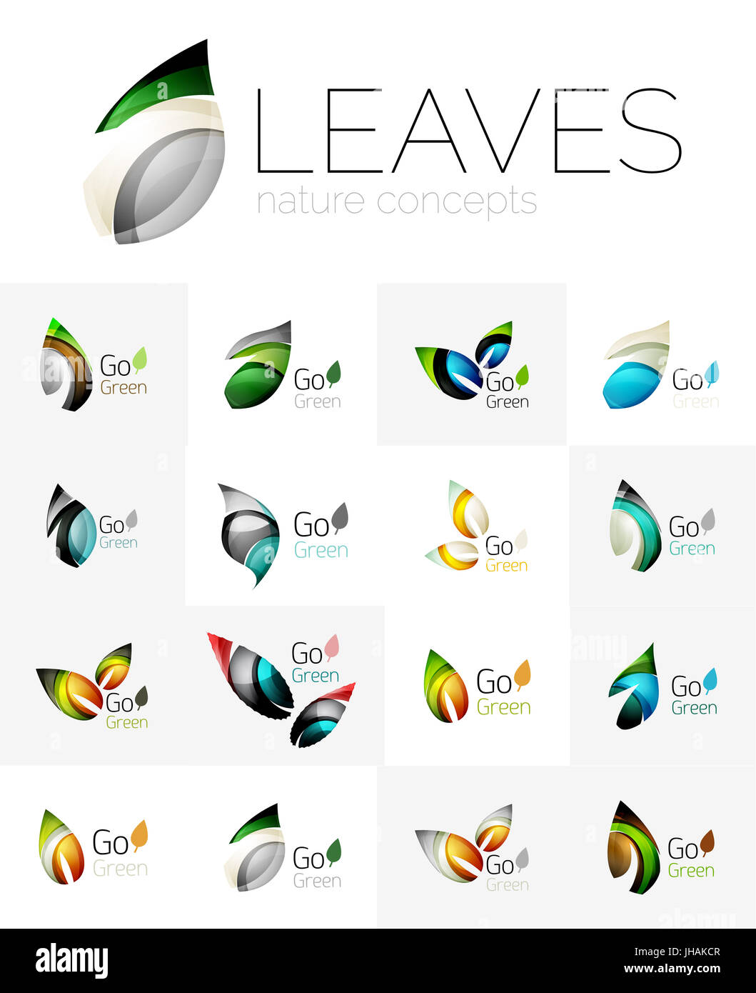 Leaf logo set. collection of abstract geometric design futuristic leaves - go green logotypes. Created with color - Stock Image