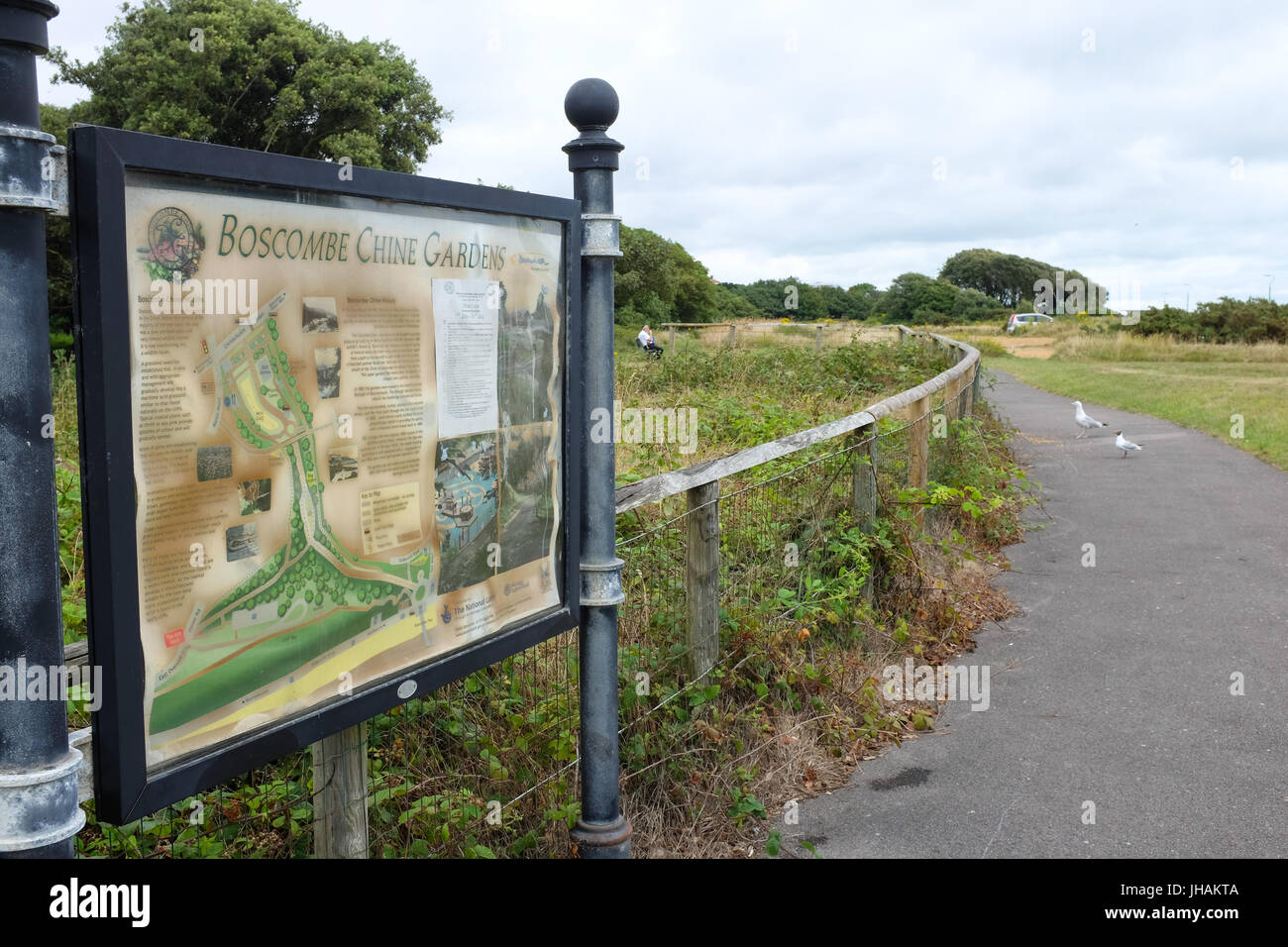 The entrance to Boscombe Chine Gardens in Boscombe, near Bournemouth in England. - Stock Image