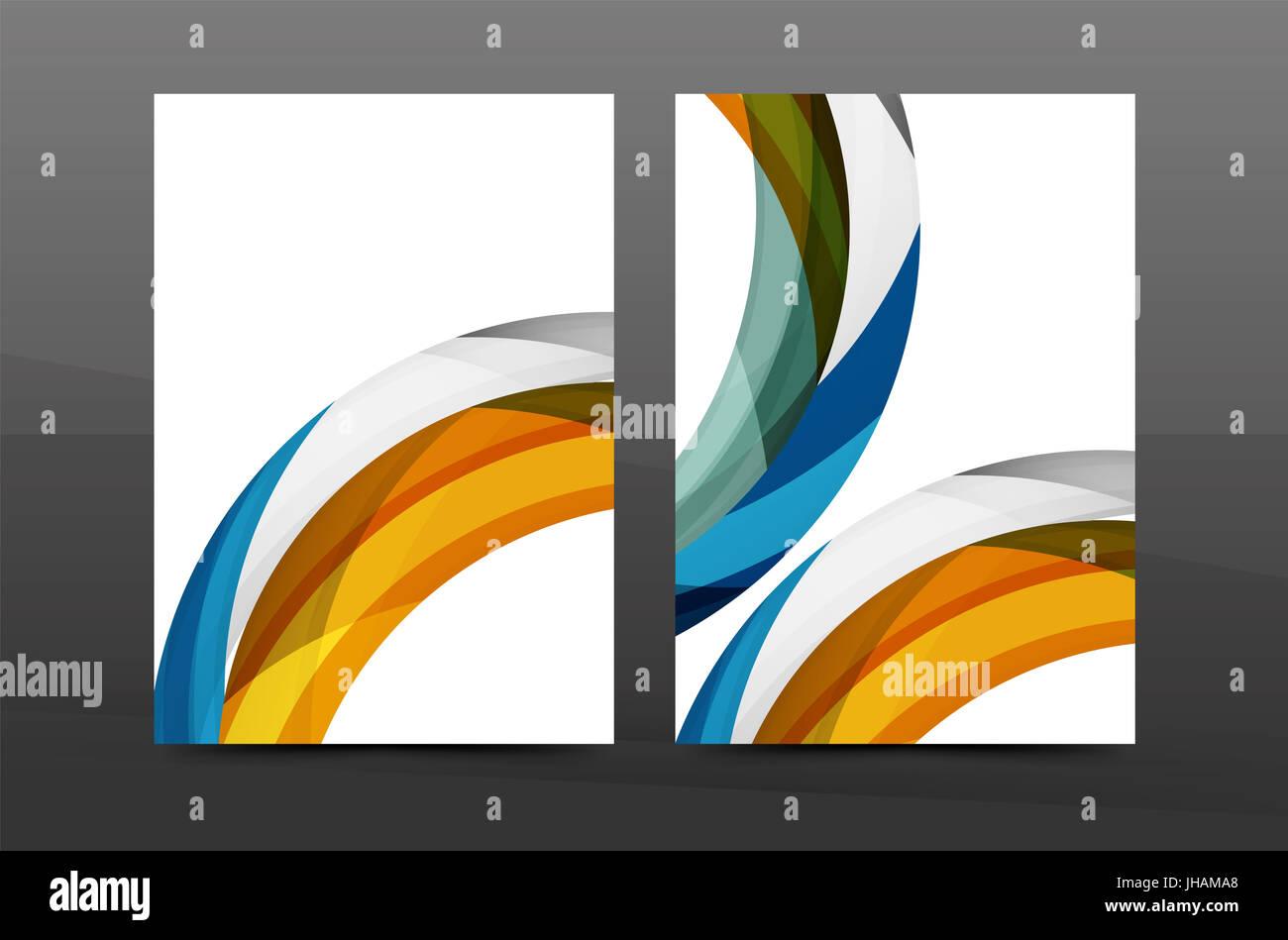 colorful swirl design annual report cover template brochure flyer