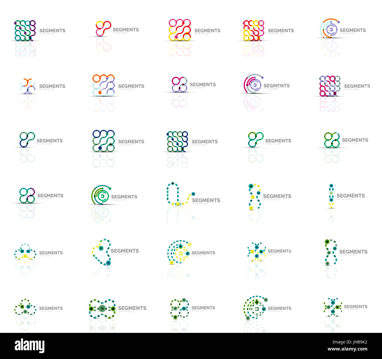 Abstract company logo vector collection. Set of thin line design abstract logotypes. Universal branding concepts. - Stock Image