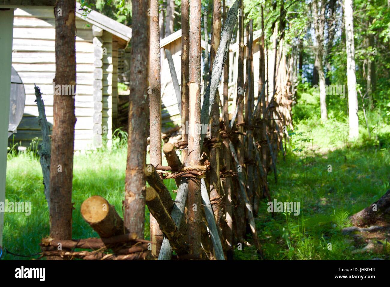 Traditional Finnish wooden fence. - Stock Image