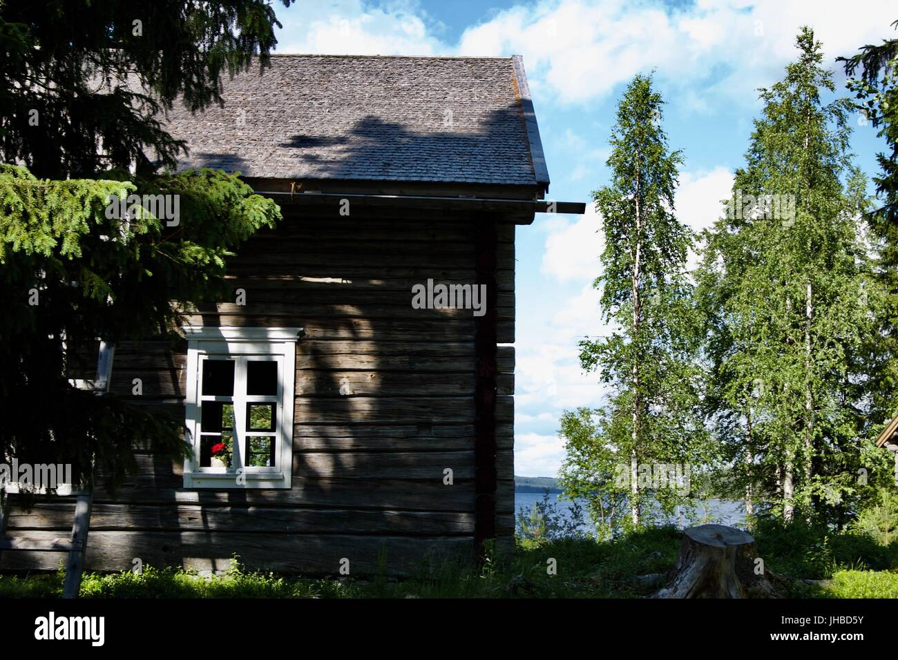 Old Finnish farm house in Lapland. - Stock Image