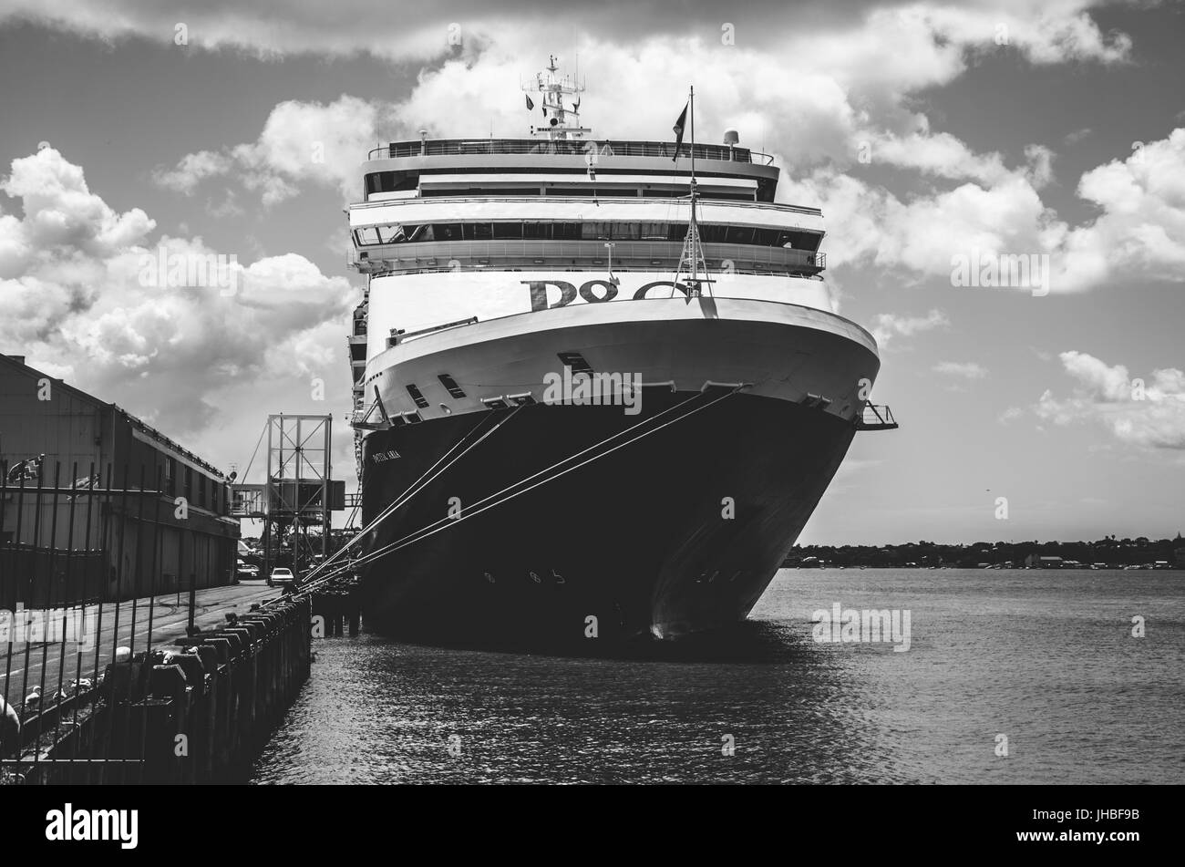 Big Cruise Ship in Auckland, New Zealand Stock Photo