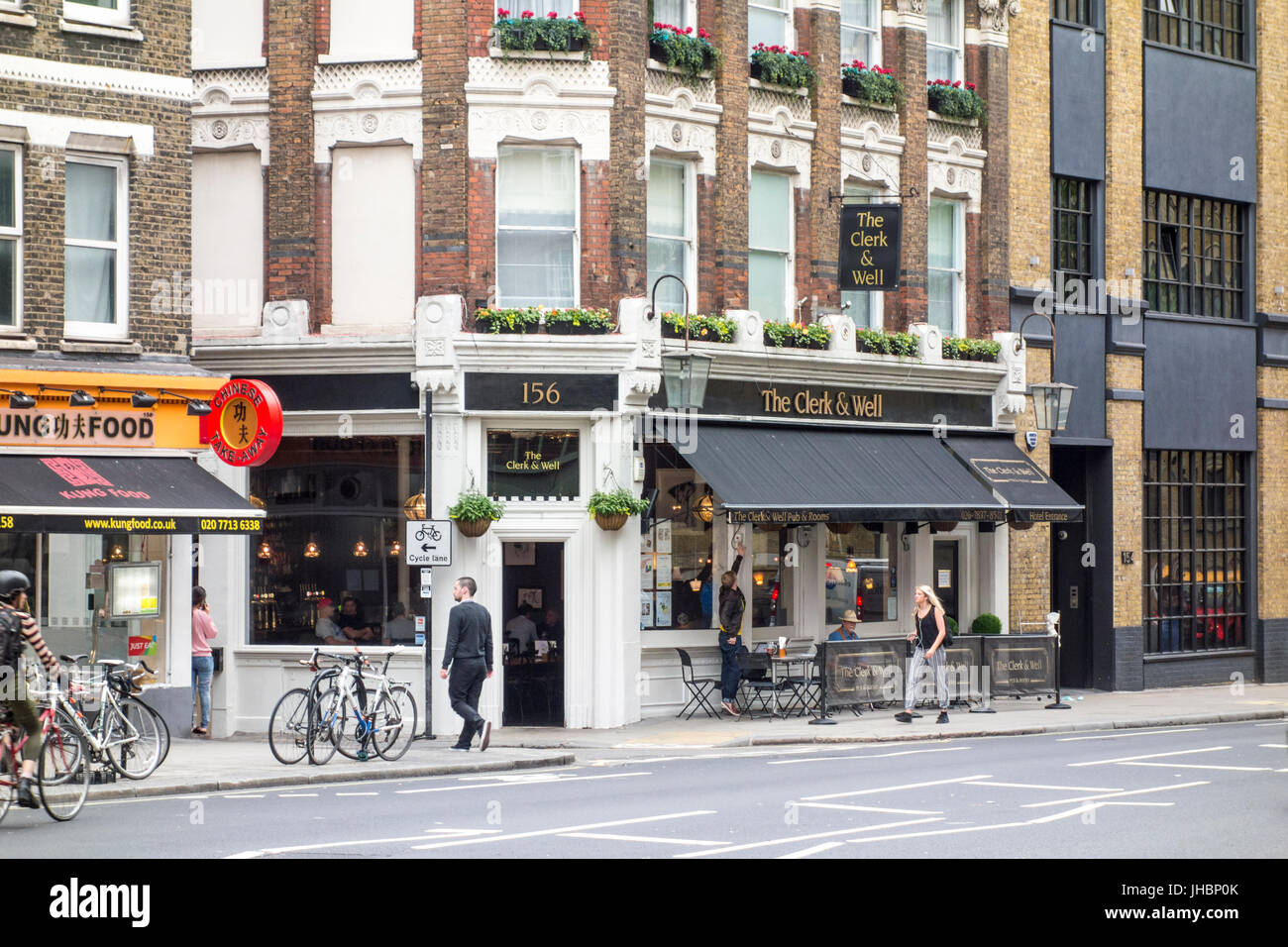 The Clerk & Well pub public house bar, Clerkenwell, London, UK - Stock Image