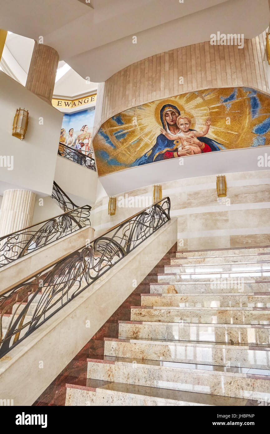 Torun, Poland - July 08, 2017: Interior of newly built Shrine of Our Lady the Star of New Evangelization and St. Stock Photo