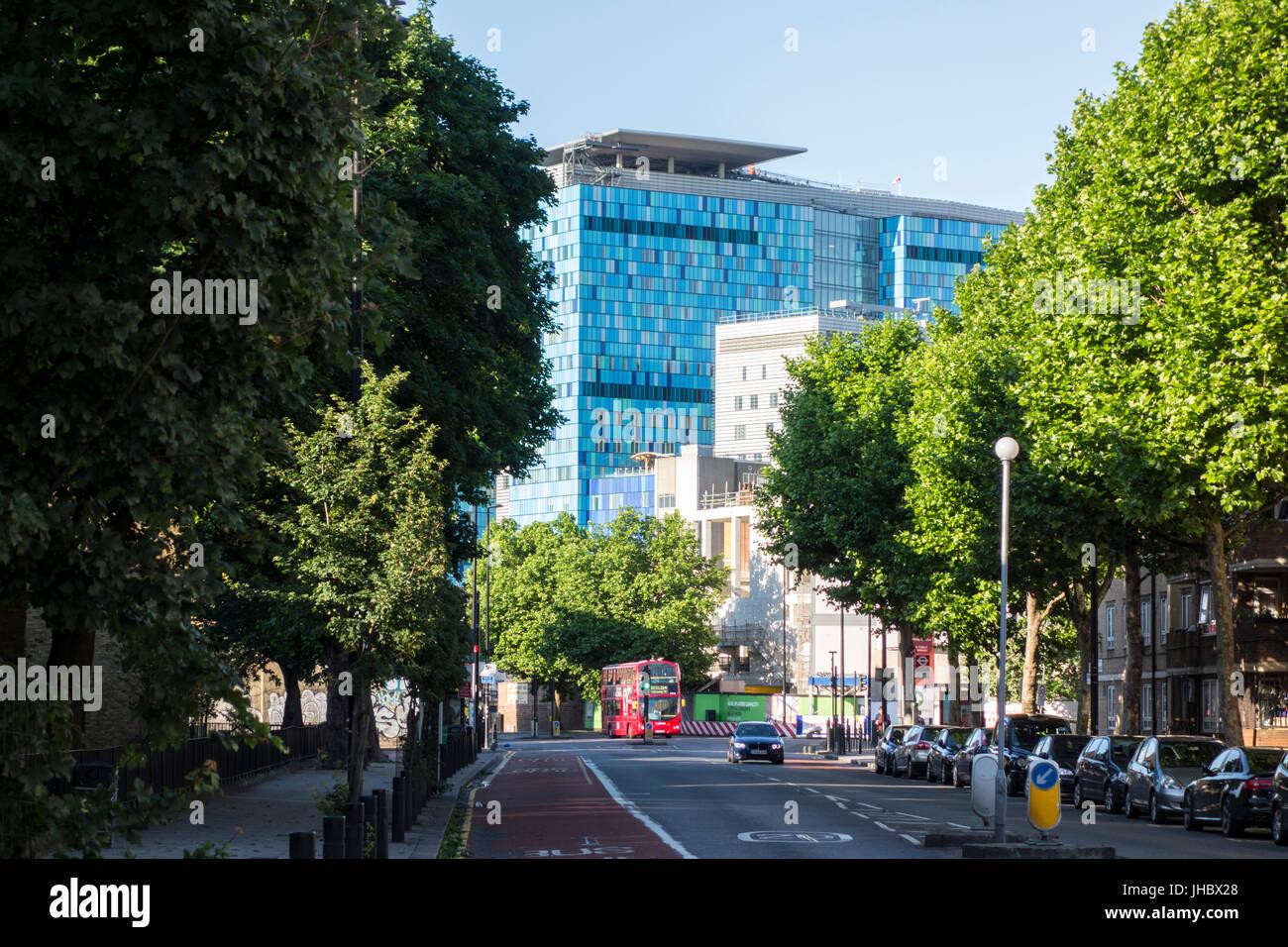 View of The Royal London Hospital along A107 Cambridge Heath Road, Bethnal Green, East London, UK - Stock Image