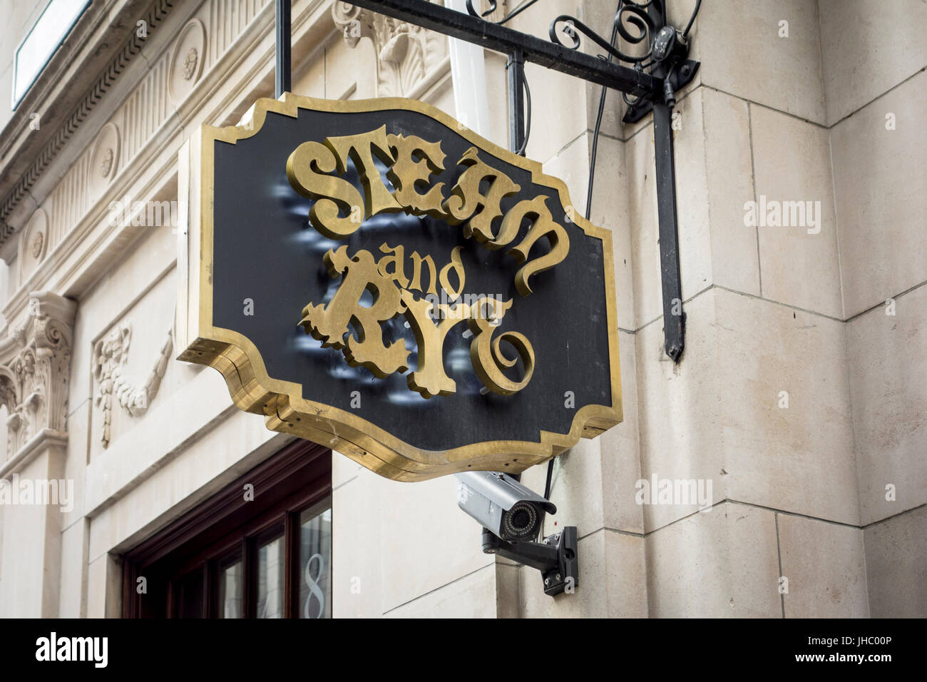 Steam and Rye pub bar sign, City of London, UK - Stock Image